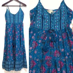 NWT Band of Gypsies Aquamarine Border  Maxi Dress